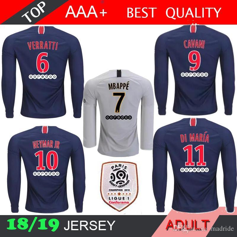 1249a0293 7 MBAPPE 18 19 PSG Soccer Jersey Long Sleeve DANI ALVES 2018 2019 ...