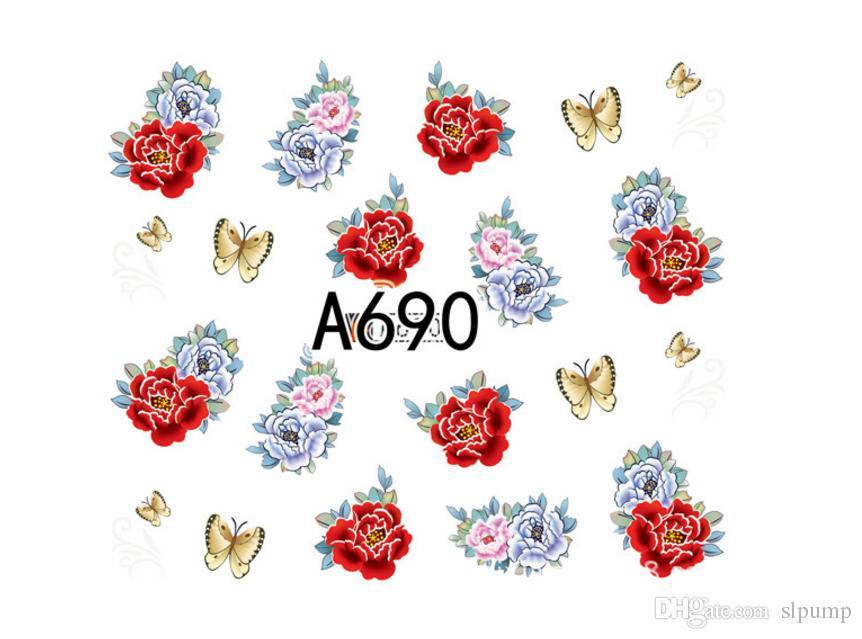 50 Листов Набор Смешанный Цветок Воды Передачи Ногтей Наклейки Наклейки Художественные Советы Украшения Маникюр Наклейки Ongles