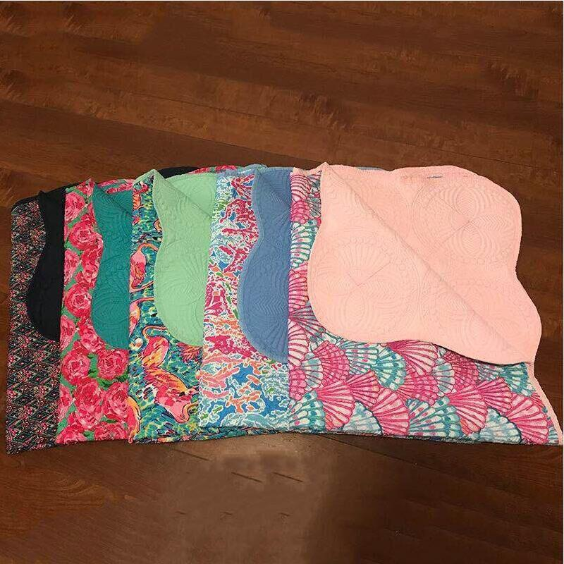 1859f069730220 Wholesale Lilly Pulitzer Reversible Quilted Baby Blanket Rose Scalloped  Baby Quilts 100% Cotton Infants Blankets DOM434 Monogrammed Blankets  Turquoise Throw ...