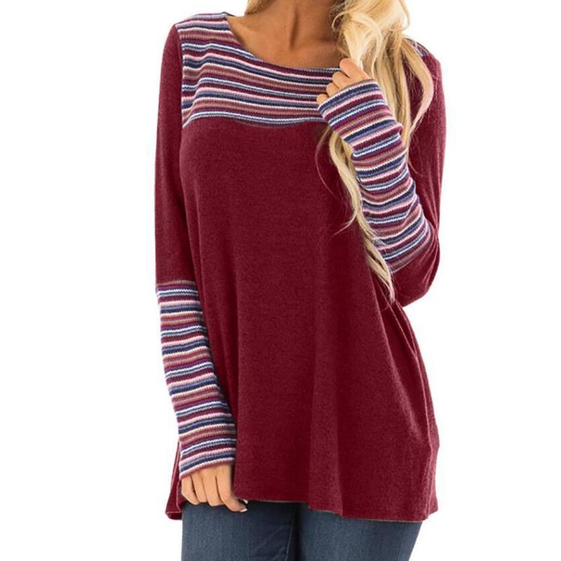 31ba44982d Acheter 2018 Femme T Shirt Mode Femmes Stripe Casual Tops T Shirt Dames  Lâche À Manches Longues Top Blusa Vêtements Crew Neck Shirt T Shirts De  $19.85 Du ...