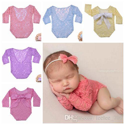98f72b152e 2019 2018 Newborn Photography Props Baby Girl Rompers Unisex Lace Romper  Cute Big Bowknot Jumpsuits Baby Photo Prop Sexy Backless Onesies Clothes  From ...