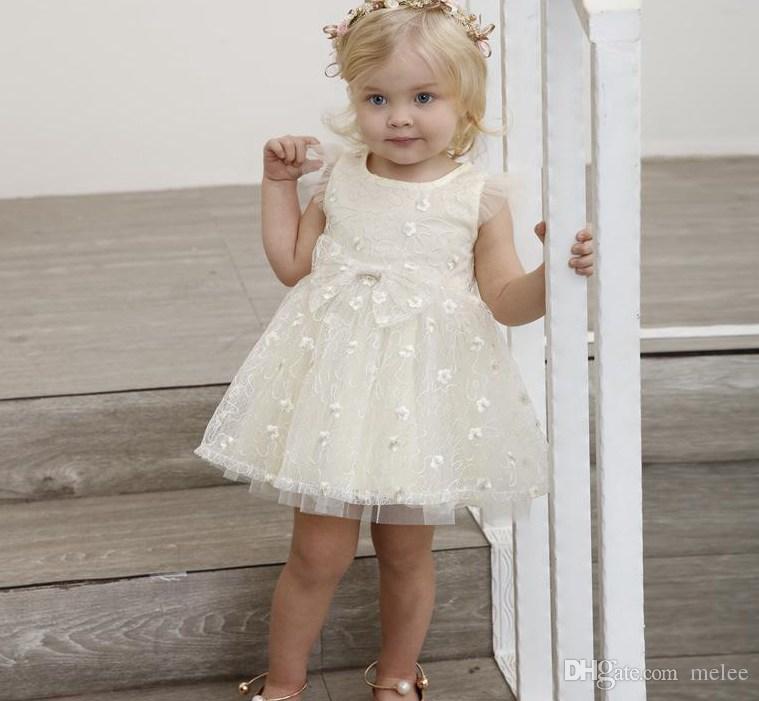 Booknnotレースチュチュボウドレスチュールフラッタースリーブ夏の新しい子供のドレスを持つインベイビーガールズプリンセスパーティードレス