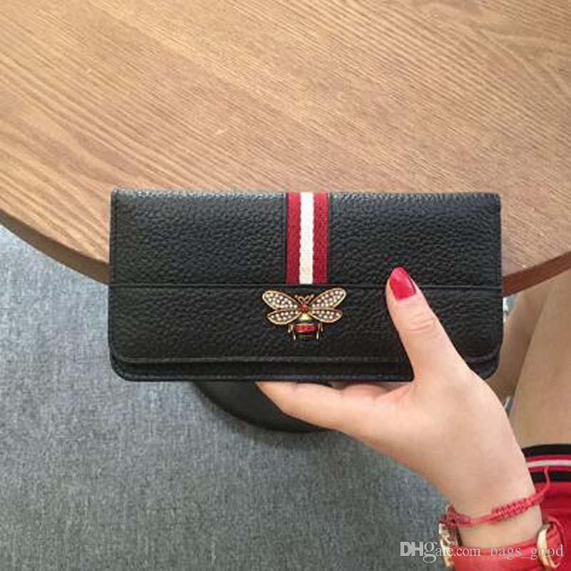 New women Genuine leather bee wallet female cow leather purse lady fashion clutch purse ladies long wallet