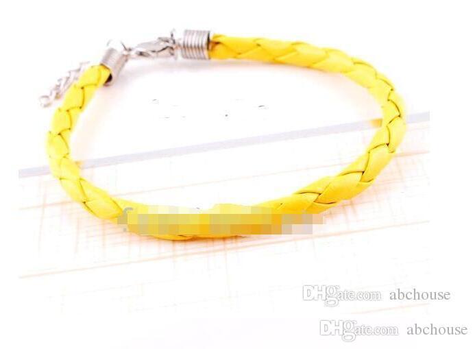 925 Silber Schmuck Europäische Geflochtene Leder Perlen Armbänder Fit Geschenk Mix Colors 120 stücke Freies Verschiffen