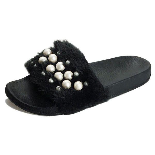 3297d753a3e Acheter Printemps Été Pantoufles Femmes Plancher Doux En Peluche Femme  Mignon Perle Pantoufle Plat Avec Chaussures Confortable Maison Fourrure  Pantoufles ...