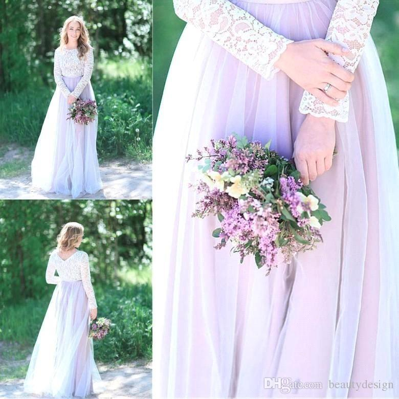 Countryside Beach Lilac Lace A Line Tulle Floor Length Wedding Dresses 2018 Arabic Long Sleeves Bridal Gowns Reception Dress Plus Size