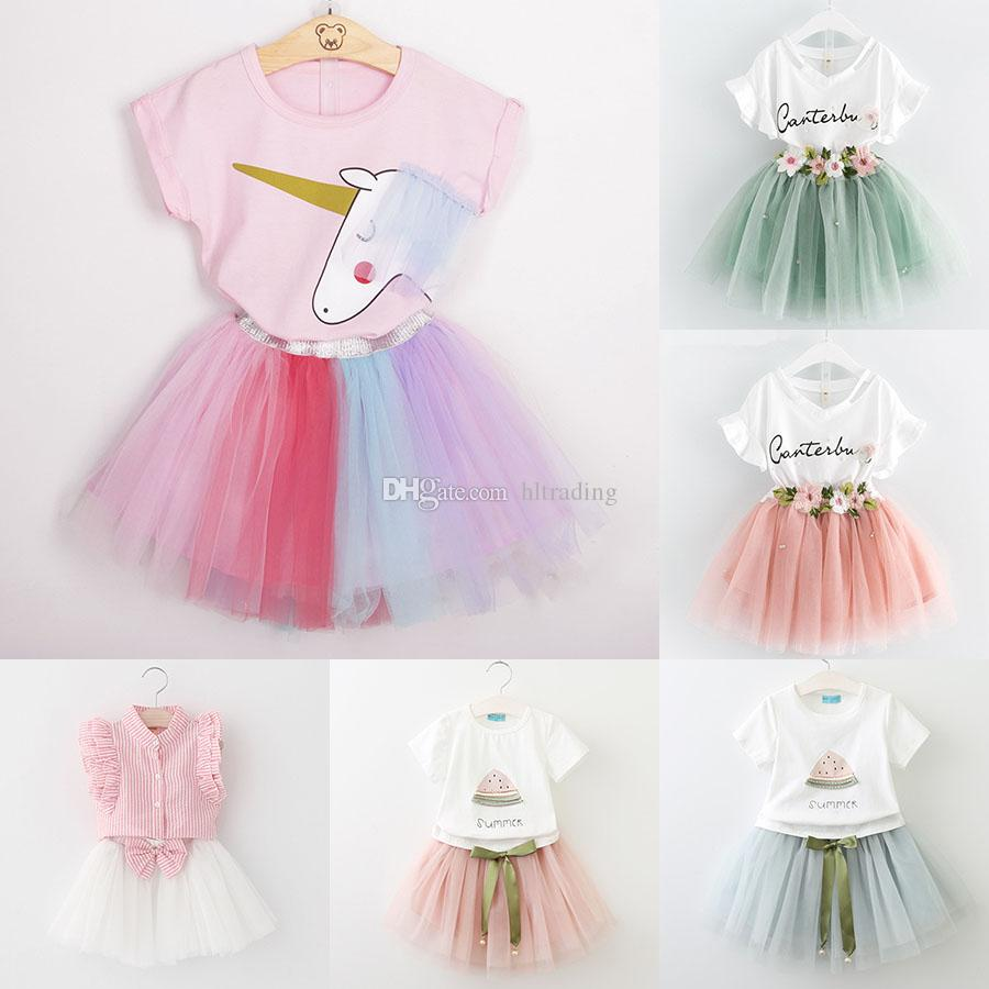 Baby girls lace skirts outfits girls Letter print top+flower tutu skirts 2pcs/set summer Baby suit Boutique kids Clothing Sets 7styles C3863