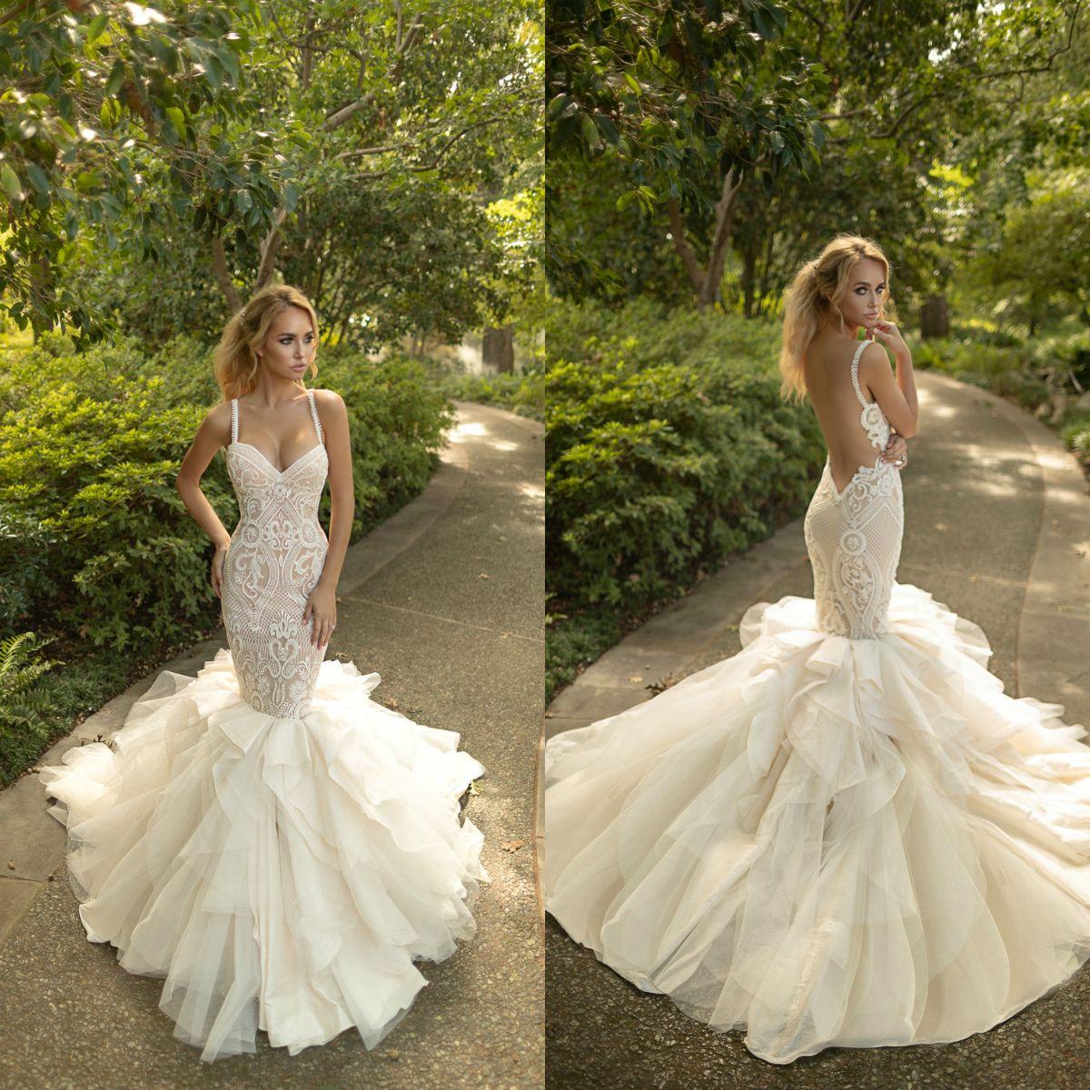 7371435b5b641 Naama   Anat 2019 Mermaid Wedding Dresses Lace Backless Ruffles Fishtail  Bridal Gowns Plus Size Trumpet Vestidos De Noiva Informal Wedding Dress  Long Sleeve ...