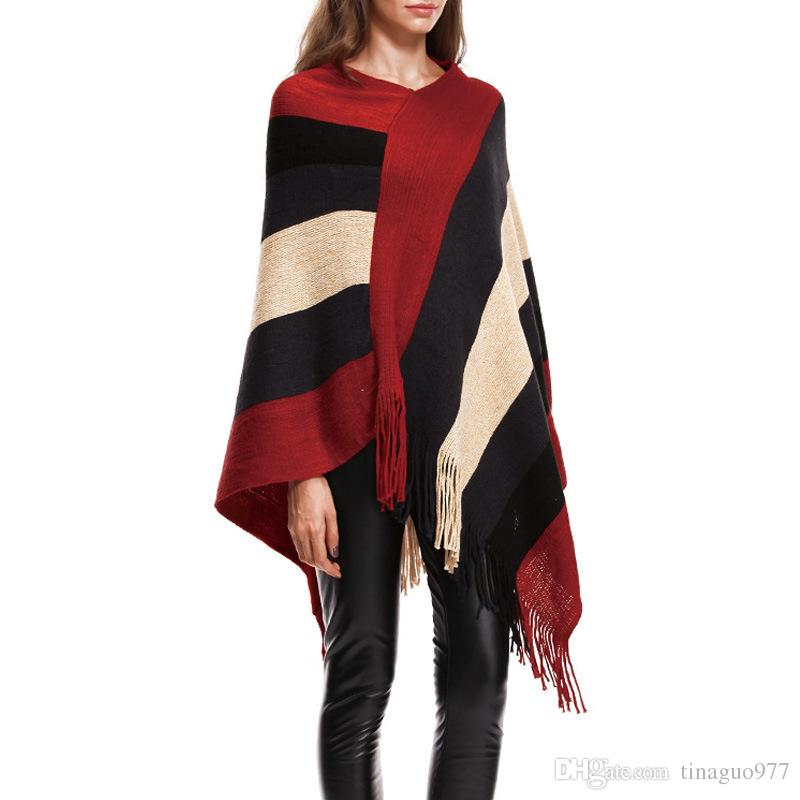 25b74f3fb82 Tassel Poncho Cape For Women V Neck Color Block Fringed Bottom Shawls  Batwing Knit Sweater Cloak