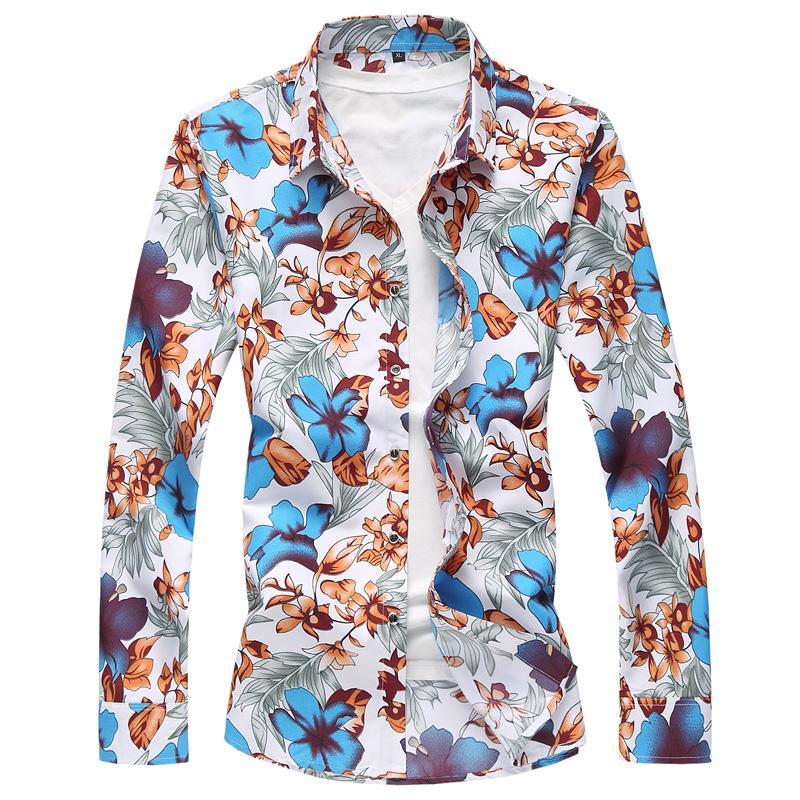294969d10d Compre Outono Nova Moda Camisa Dos Homens De Manga Longa Camisa De Vestido  Dos Homens Plus Size M 7xl Floral Camisa Havaiana Masculino Camisa Masculina  ...