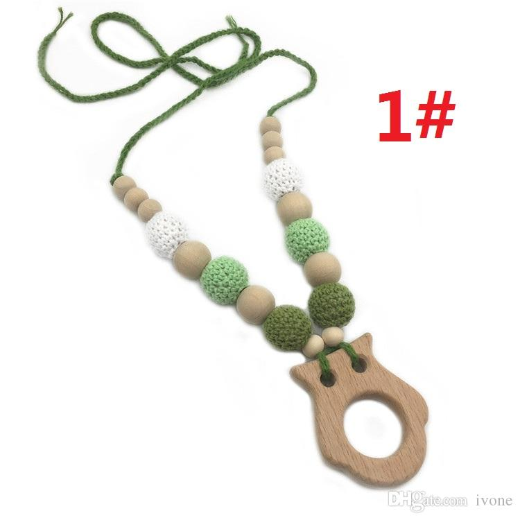DIY baby teether necklace beech cartoon animal shape molars necklace with nontoxic wool Crochet Bead teethers Necklace P1003