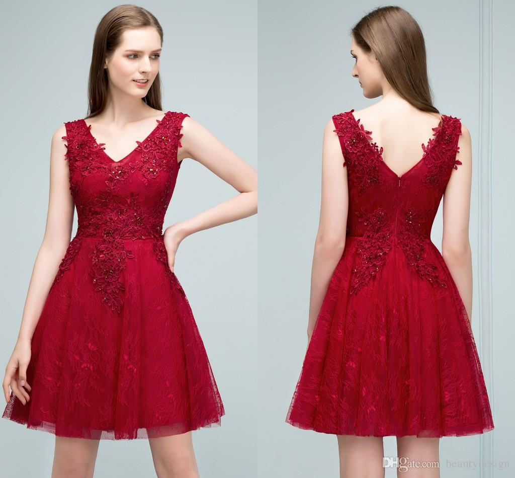 4834b8f41d2 New Arrival Sweet Short Lace Homecoming Dresses 2018 Burgundy V Neck  Sleeveless Appliqued Cocktail Party Gowns With Zipper Back CPS801 Short  Sexy Homecoming ...