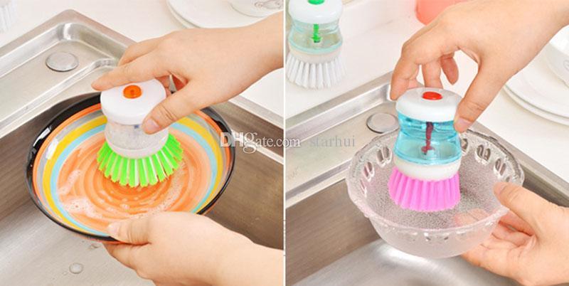 فرش التنظيف الإبداعية التلقائي وعاء هيدروليكي فرشاة السائل تخزين كأس المطبخ المرجل البلاستيك تنظيف فرش المطبخ منظف WX9-277