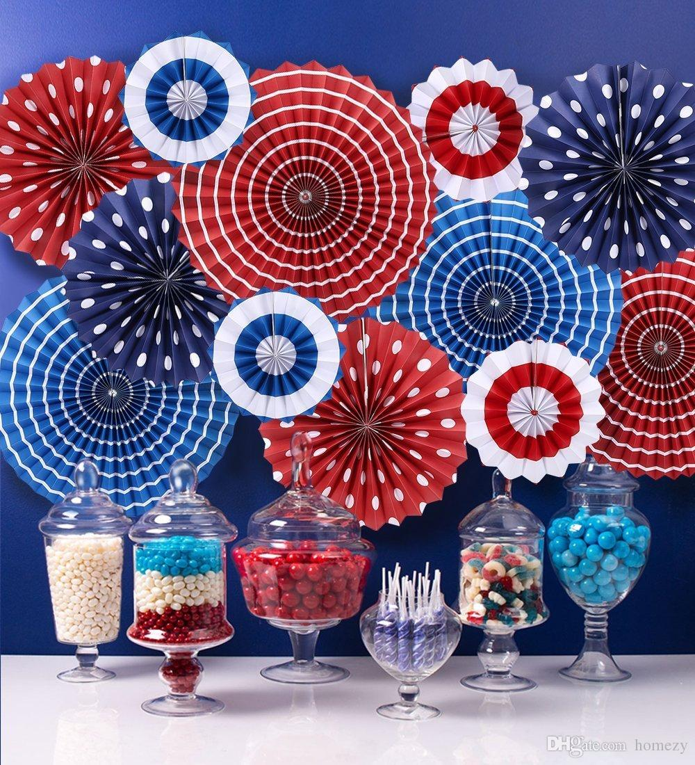 4th Of July Decorations Paper Fan Patriotic Decorations American Usa ...