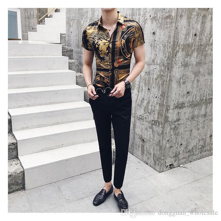 US UK Luxury Gold Black Shirt 2018 Summer Short Sleeve Fashion Designer Party Club Prom Party Shirt Stylish Gold Slim Shirts For Men