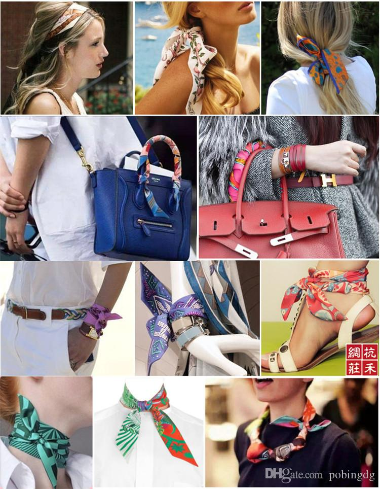 100 cm * 4 cm haut de gamme femme dessins de mode liée sac écharpe dames petit arc ruban foulard foulards en soie Wrap 66 couleurs Factory Outlet