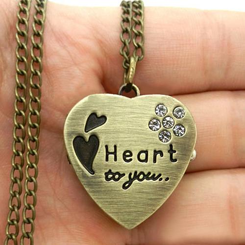 Gorgeous!!! Popular Sweet Heart Vintage Retro Chain Pocket Watch Crystal Pendant Necklace Lady Girl Gift NO181 5VAA