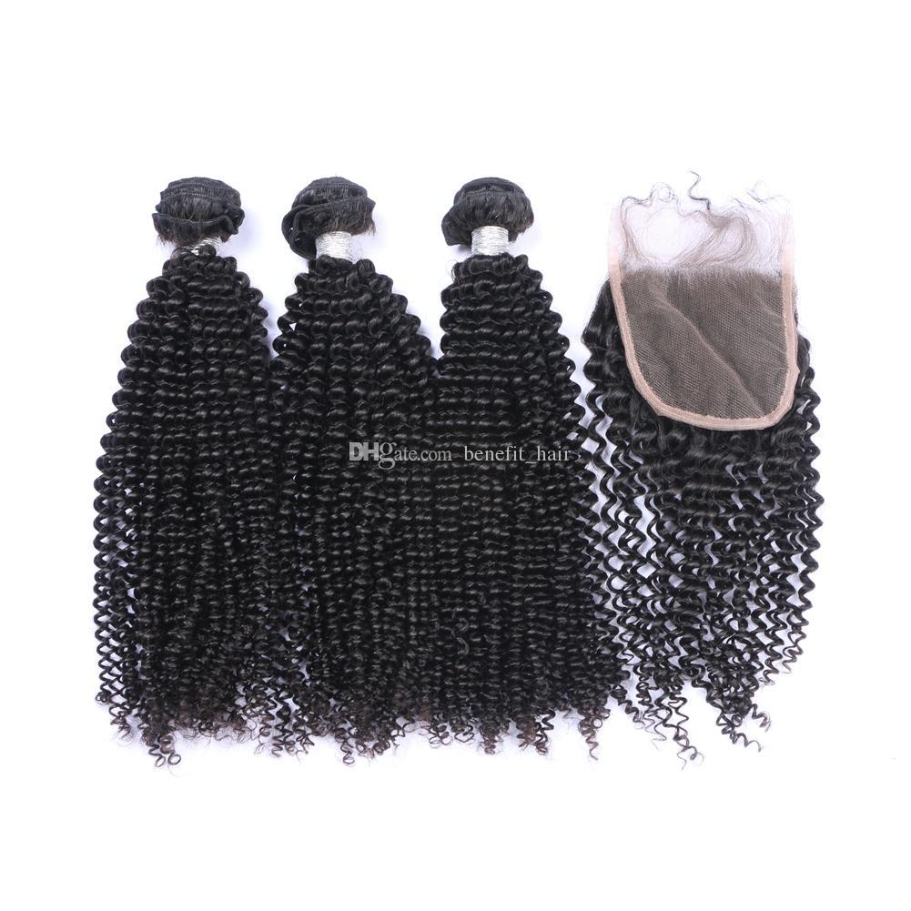 Кудрявый вьющиеся волосы ткет с верхней закрытия 4x4 афро кудрявый вьющиеся необработанные 100 девственные волосы 3Bundles с закрытием 4 шт. Много