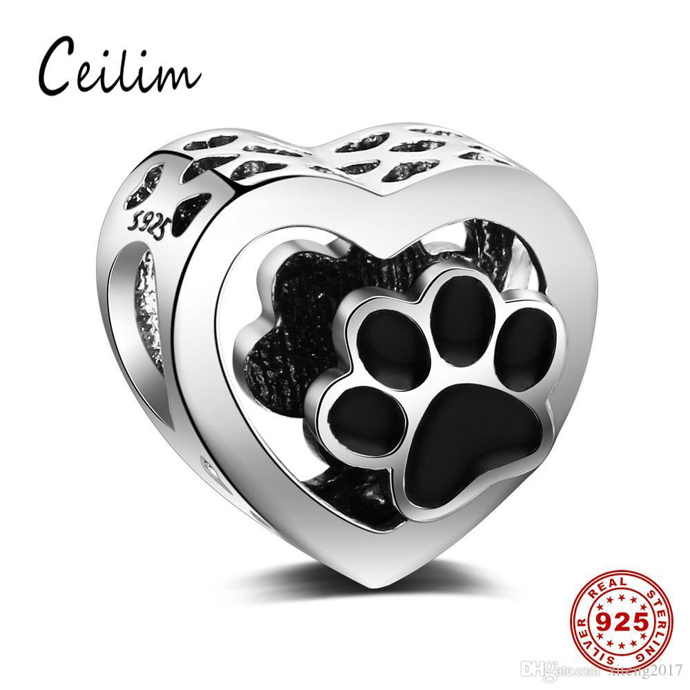 Silver Heart Dog Paw Print Charm Bracelet Bead - Sterling Silver 925 2y0kLBLcJW