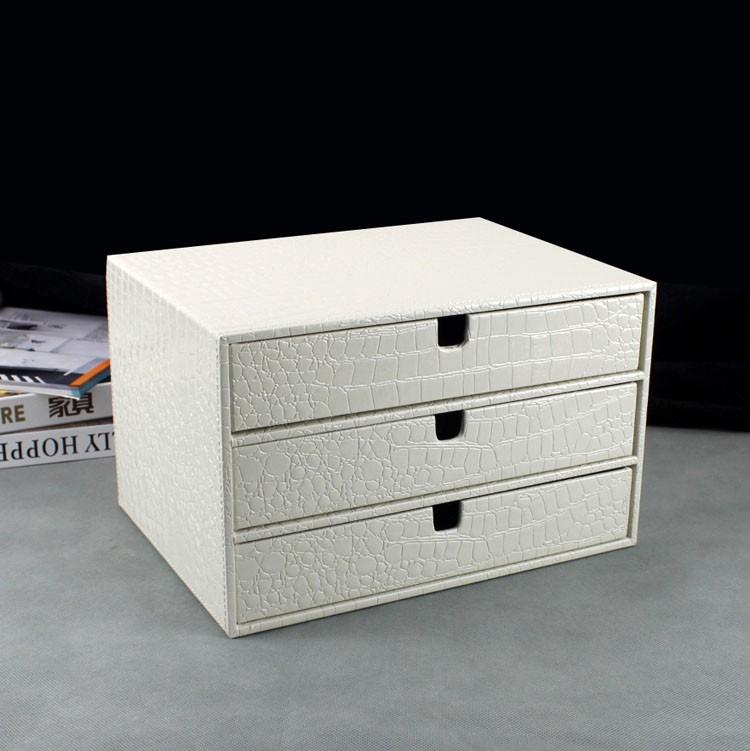 2018 Whole Home Office 3 Drawer Wood Leather Desk File Cabinet Storage Box Organizer Doent Holder Rack Tray Crocodile White 217e From Fair2017