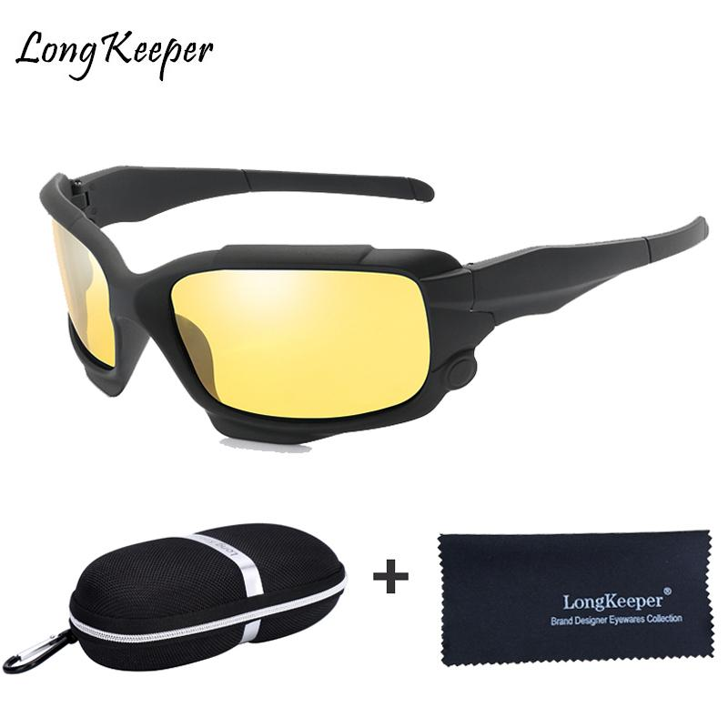 7d8459c6ec77 Nachtsicht Fahren Gläser Männer Polarisierte Sonnenbrille Spiegel Sport  Herren UV400 Sonnenschutzgläser Für Männer Fahrer mit Fall