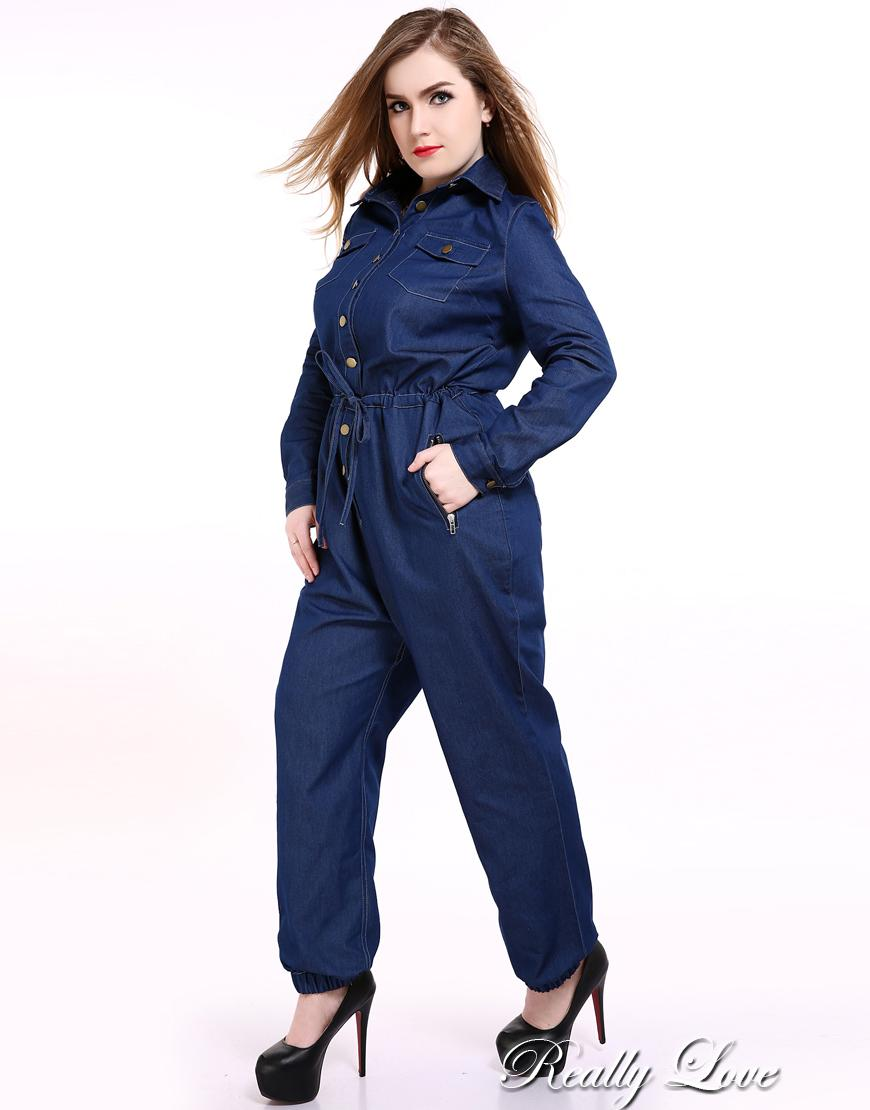 Cute Ann Women's Plus Size Denim Jumpsuits And Rompers Long Sleeve Full Length Casual Cocktail Party Work Office Wear