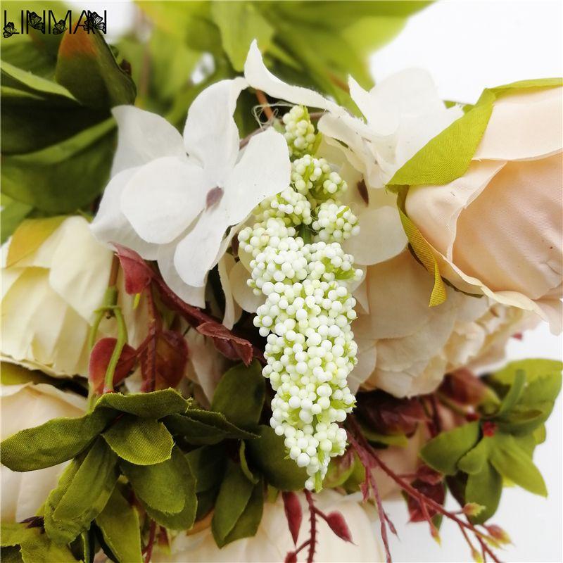 New Beautiful Purple Pink Wedding Bouquet Handmade Bridal Flower Artificial Hydrangea Peony butterfly Brooch Bouquets