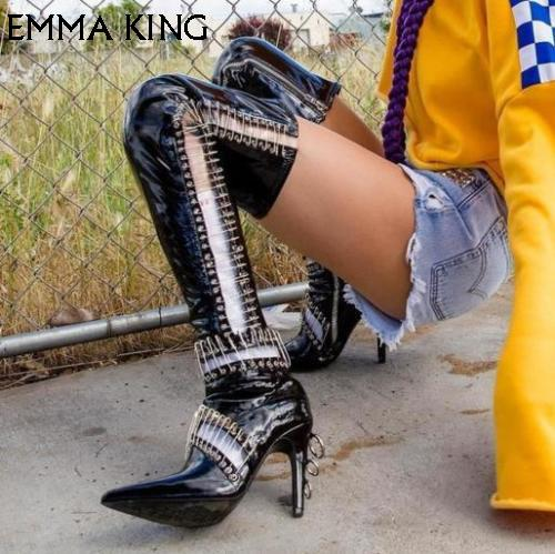 51f83206f0 2018 Winter Boots Women Black Over The Knee Boots High Heel Pointy Toe  Knight Biker Square Heels Shoes Sex Zapatos De Mujer High Heel Shoes Wedges  Shoes ...