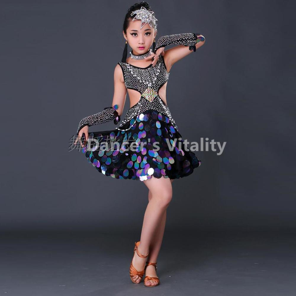 4ed338f6e6 Compre Novo Profissional Criança Dança Latina Salão De Baile Meninas Samba Salsa  Vestidos De Lantejoulas Trajes Mulheres Tango Dress Latin Dress For Girls  ...