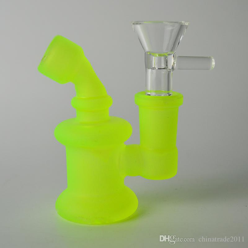 "Glow in the Dark Mini Bongs 3"" inch Tall Luminous Water Pipe Oil Rig 3mm Thickness Portable Bubbler Dab Rig with 14mm Joint"