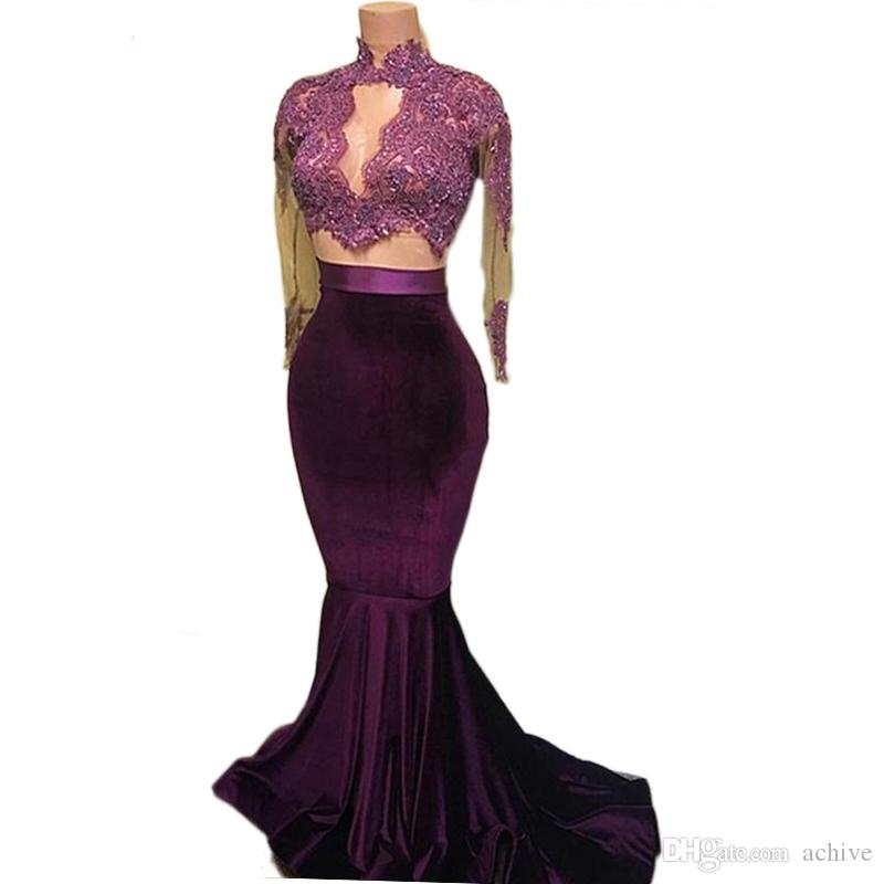 Elegant Purple Velvet Two Piece Mermaid Prom Dresses 2020 Long Sleeves Robe de Soiree Lace Beaded Top Long Homecoming Dresses Evening Gowns