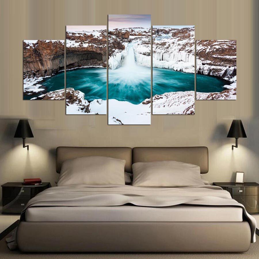 Moderne Home Wand Kunst Poster oder Schlafzimmer Leinwand 5 Panel fällt  Island Print Malerei modulare Bilder Rahmen Dekoration Wohnzimmer
