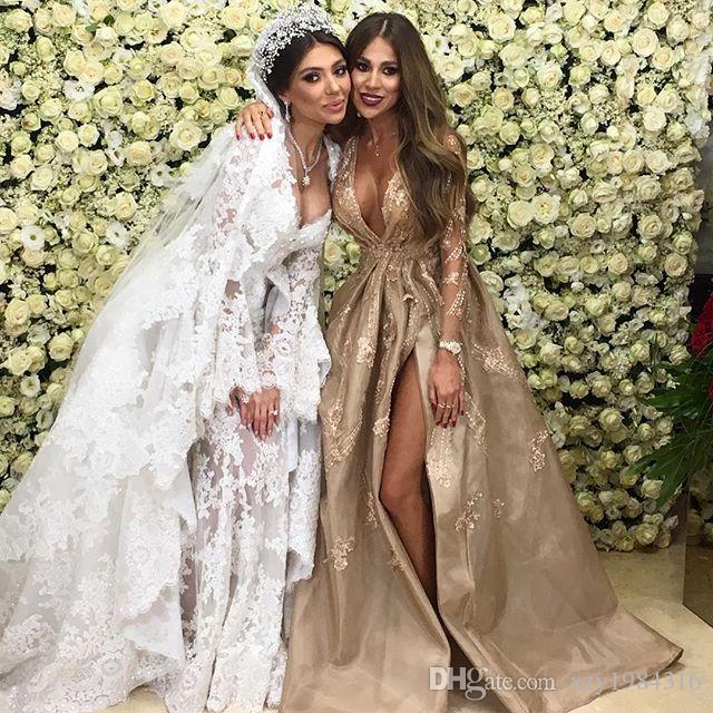 Sexy ouvert chérie robe de mariée avec perles surjupe dentelle à manches longues appliques Dubai robe de mariée Glamorous Tulle mariage sirène Dresse
