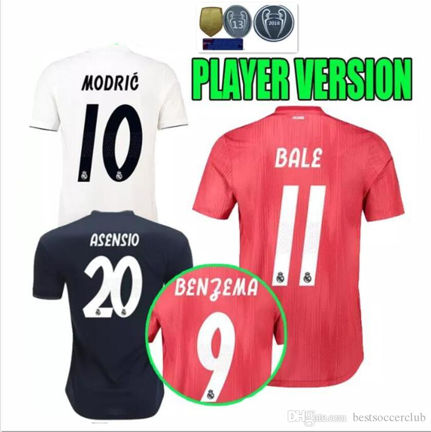 ba557de7866 Player Version 2018 2019 Real Madrid Soccer Jersey 18 19 Champions ...