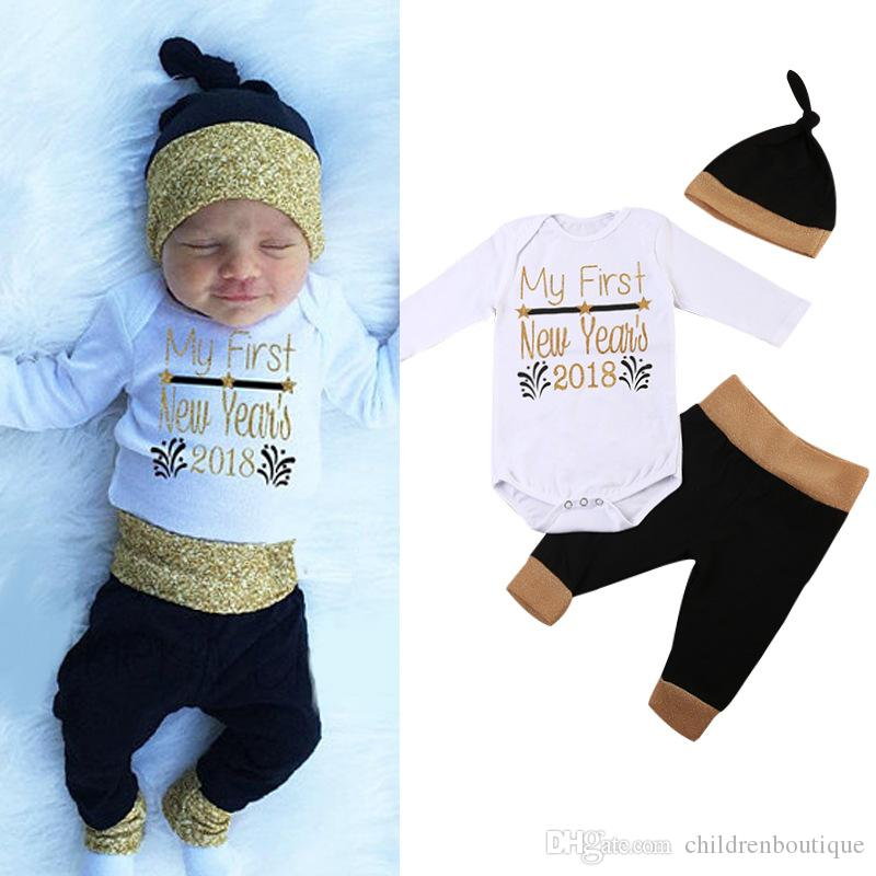 9e5765519 Baby Clothing My First New Year 2018 Newborn Baby Boy Clothes Long Sleeve  Romper + Patchwork Pants + Hat 3PCS Outfit Cotton Kids Clothes Set