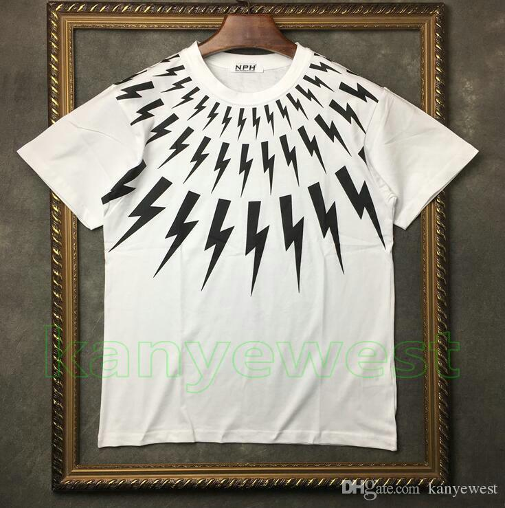 2019 nuovi uomini di estate Collare di marca bianco lampo stampa t-shirt manica corta Designer tshirt Camisetas magliette unsex cotone tee top