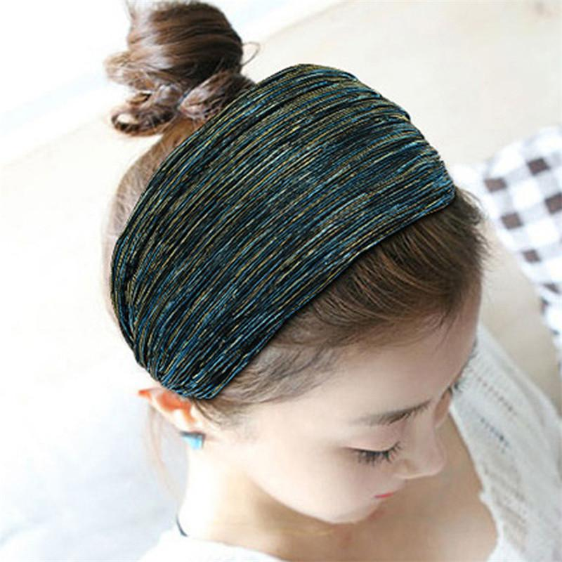 Fashion Gold Wire Wide Hairband Women Girls Toothed Hair Head Hoop Band  Accessories Fabric Mesh Yarn Headband Headwear Headdress Jeweled Hair Bands  Jewelled ... a05a230ec75