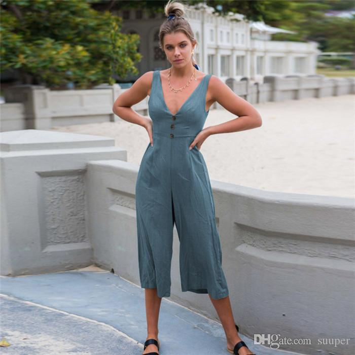 839f2e1c7453 2019 Sexy V Neck Sleeveless Back Bow Knot Jumpsuit Women 2018 Summer Casual  Loose Calf Length Wide Leg Pants Rompers Beach Overalls From Suuper