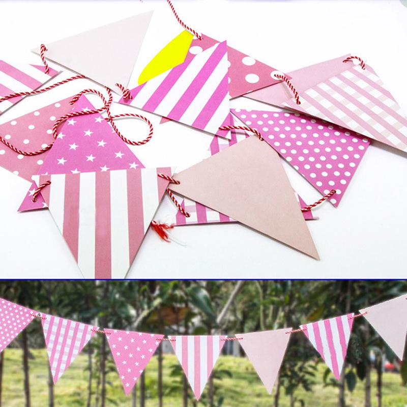 Tronzo Party Decoration Triangular Flags Paperboard Wave Point Little Star Bunting Banner For Wedding Birthday Party Supplies
