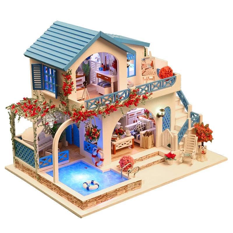Blue White Town Santorini Large Villa Large Diy Wood Doll House 3d Miniature Lights Furnitures Building Model Homestore Deco
