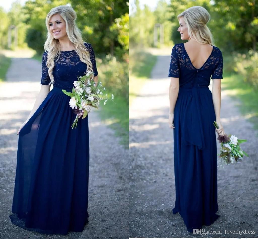 Boho Lace Cheap Bridesmaid Prom Dress Navy Blue Backless Jewel Neck