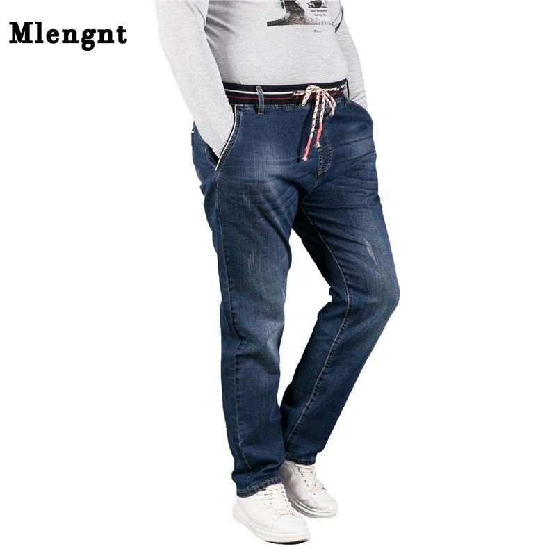 9347875b8cafa 2019 L 7XL Plus Size Baggy Jeans Mens Fashion Elastic Band Male Denim  Overalls High Stretch Cotton Spring Brand Biker Pants Jeans Men From  Modleline