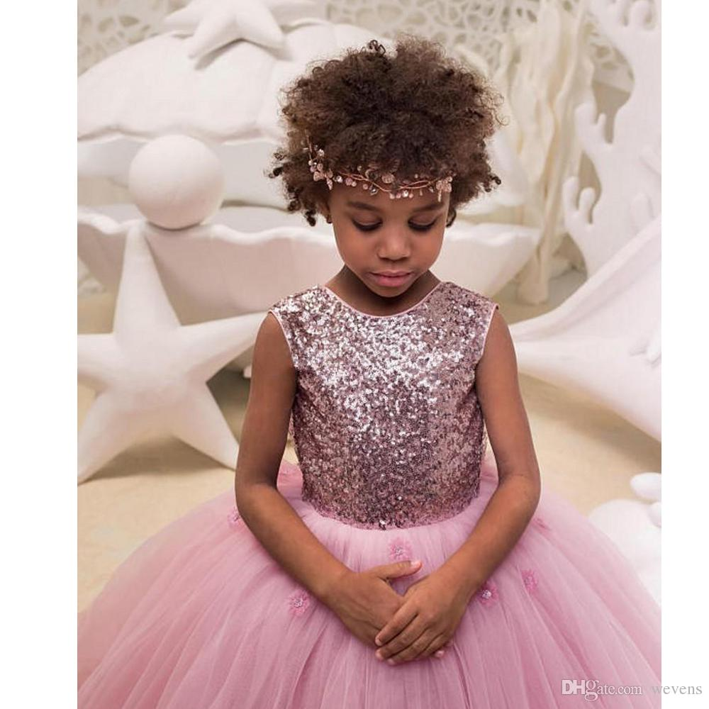 Blush Pink Ball Gown Flower Girls Dresses Jewel Neck Sequin With Bow Tie Tulle Kids Formal Wear Sweep Train Child Pageant Dress