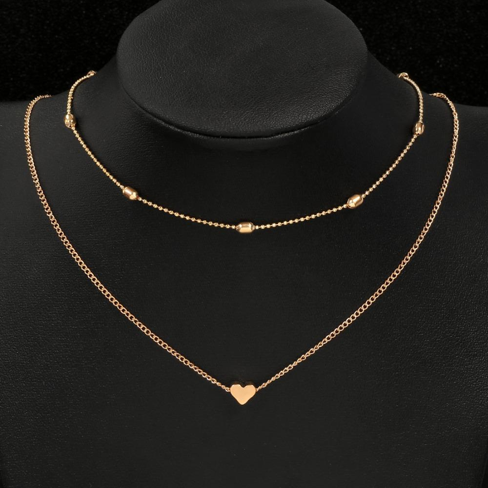 596eb865471 2019 Hesiod Bohemia Simple Design Double Layer Gold Silver Color Chain Choker  Necklace Women Short Chokers Heart Pendant From Ogstuff, $19.65 | DHgate.Com