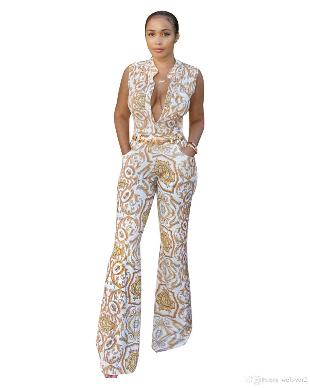 f931a21715 Compre Patrón De Oro Impreso Bodycon Mono Para Mujer Otoño Profundo Con  Cuello En V Sexy Monos Pantalones Largos Mamelucos Para Mujer Mono Catsuit  J1394 A ...
