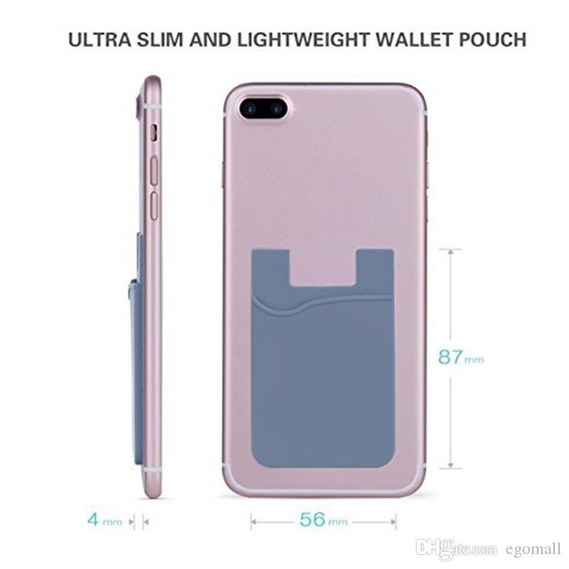Kablo eaphone Samsung için Silikon Cüzdan Kredi Kimlik Kartı Nakit Cep Sticker Yapışkan Tutucu Kılıfı Cep Telefonu 3M Gadget