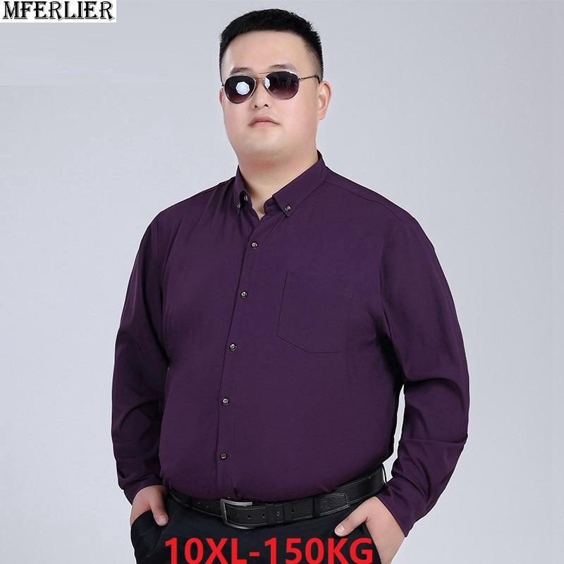 2019 MFERLIER Winter Shirt For Men Fat Male Casual Long Sleeve Plus Large  Size Big 7XL 8XL 10XL Man Home Loose Party Dress Shirts 54 From Yingluo ea1ca2afd535