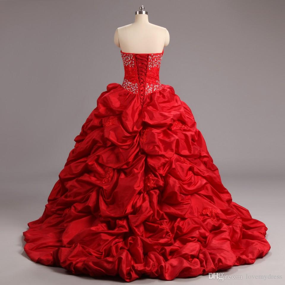 Classic Red Embroidery Cheap Quinceanera Dresses 2018 Long Sweetheart Ruffles Taffeta Sequin Beaded Lace up Back Prom Evening Dress Gowns
