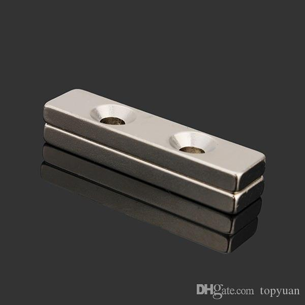 N35 40x10x4mm Strong Block Magnets Countersunk Rare Earth Neodymium Magnets with 2 Holes