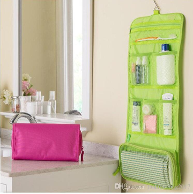 جديد المحمولة المنظم حقيبة السفر طوي يشكلون حقيبة السفر المحمولة أدوات الزينة غسل حقيبة اكسسوارات الحمام